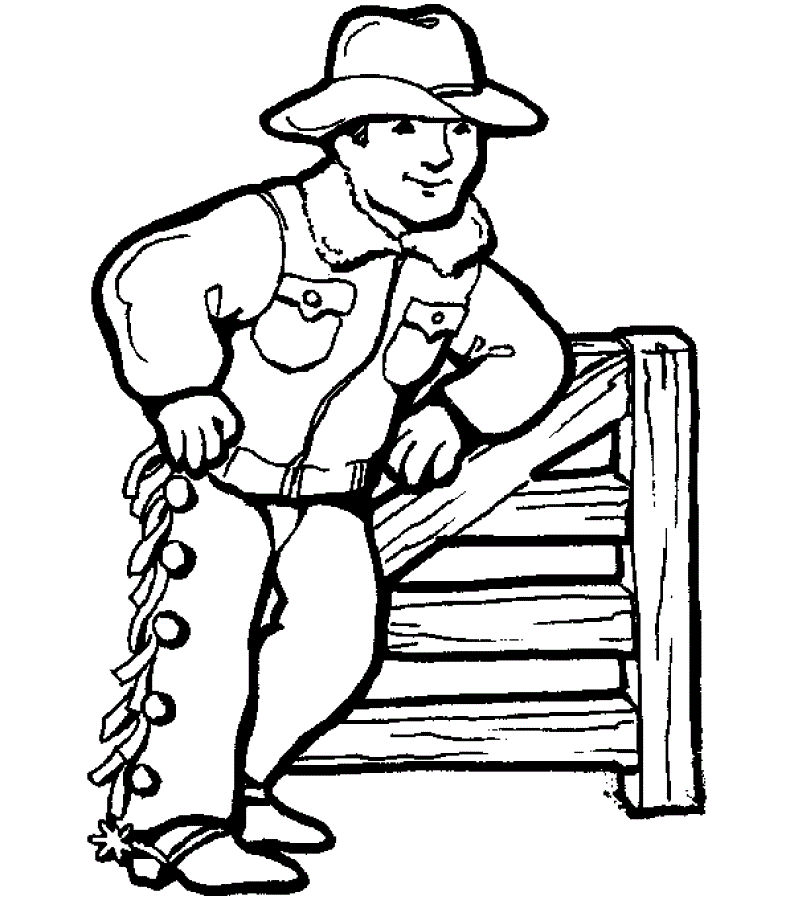 Free Childrens Colouring Cowboy