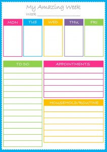 Free colorful planner pages weekly 001