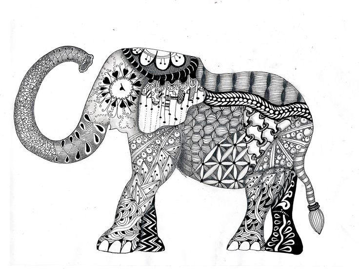 Free Coloring Elephant Coloring Pages For Adults