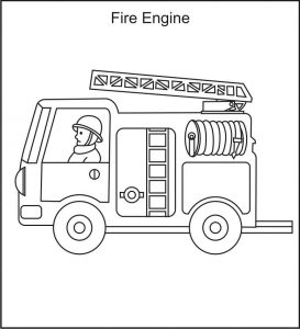 Free coloring pages fire truck 001