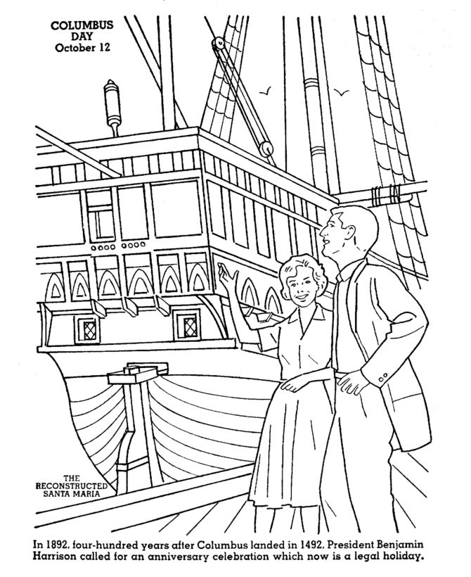 Free Columbus Day Coloring Pages 1