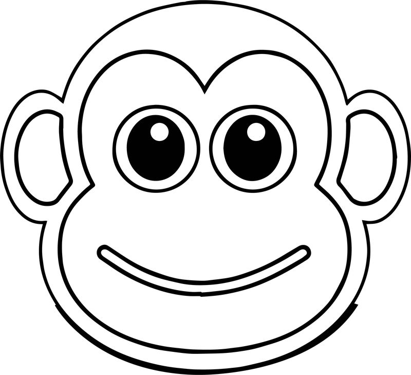 Free Cute Cartoon Monkey Baboon Face Illustration Coloring Page