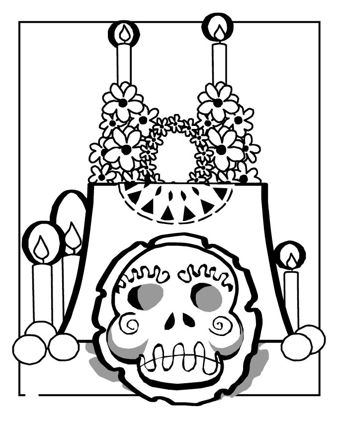 Free Day Of The Dead Coloring Pages 001