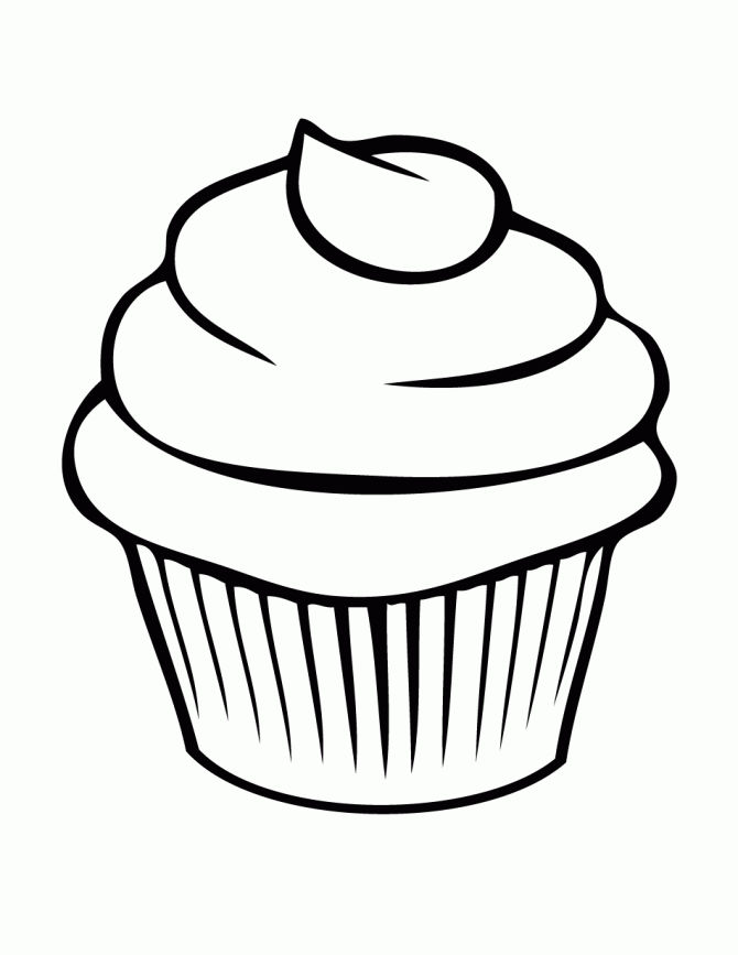 Free Easy Coloring Pages Cupcake 001