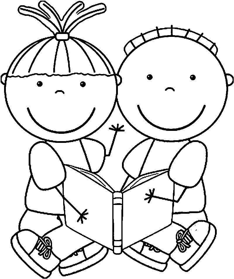 Free Educational Free Children Reading Books Kids Coloring Page