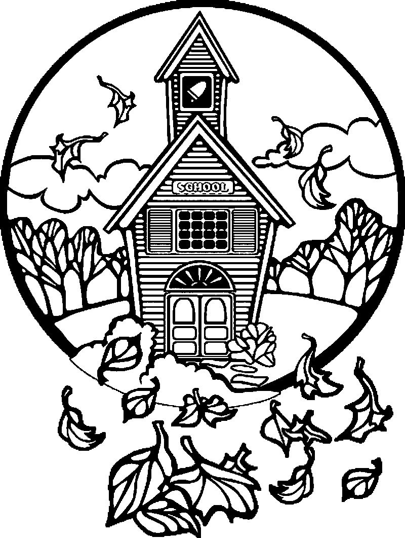 Free Fall House Coloring Page