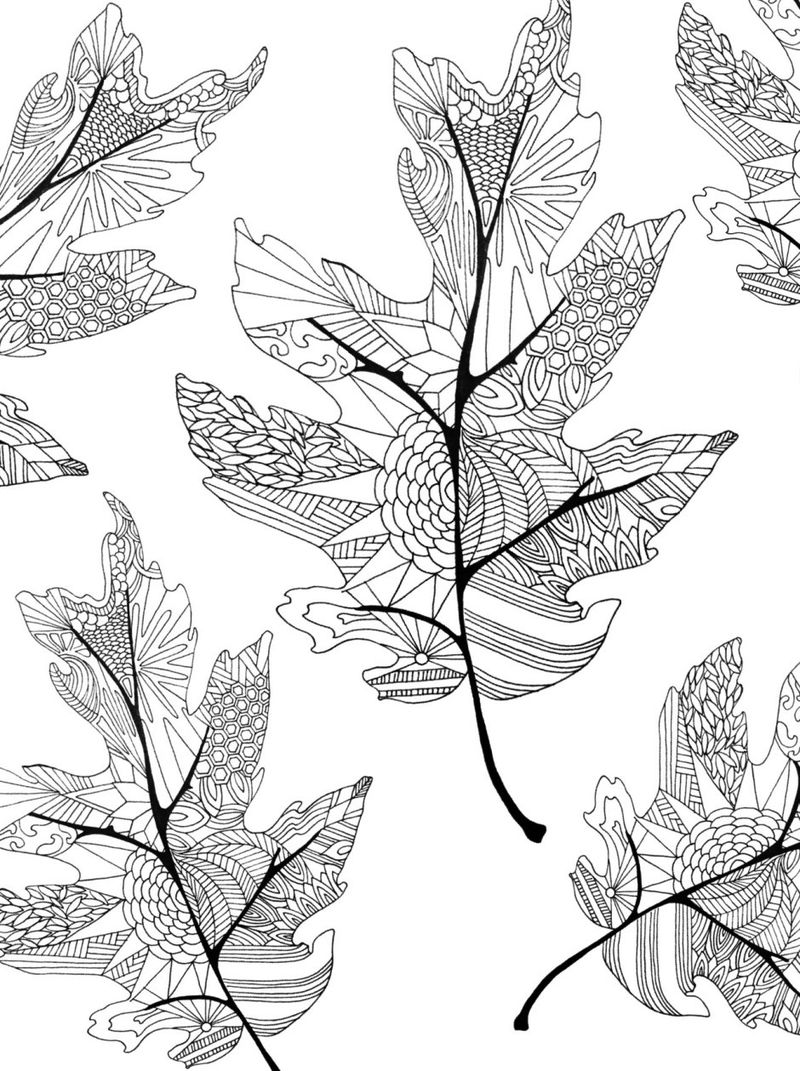Free Fall Leaves Coloring Pages For Adults