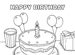 Free happy birthday party cake coloring page