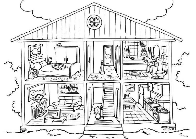 Free House Coloring Pages For Kids 001