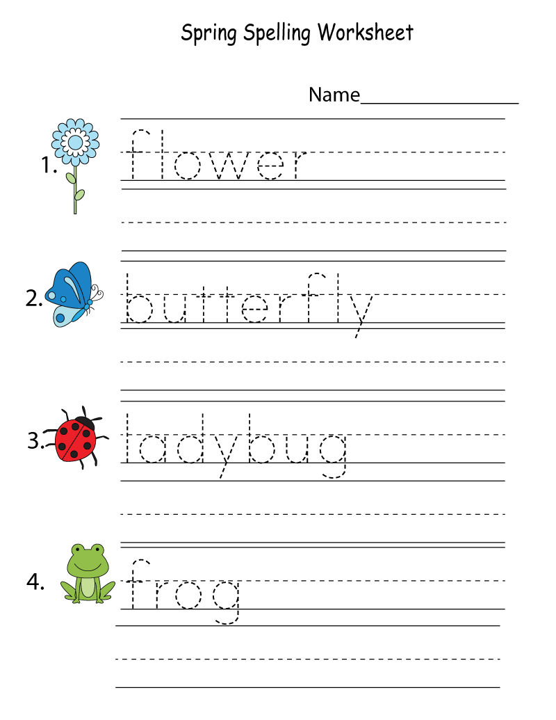 Free Kids Activity Sheets Spelling
