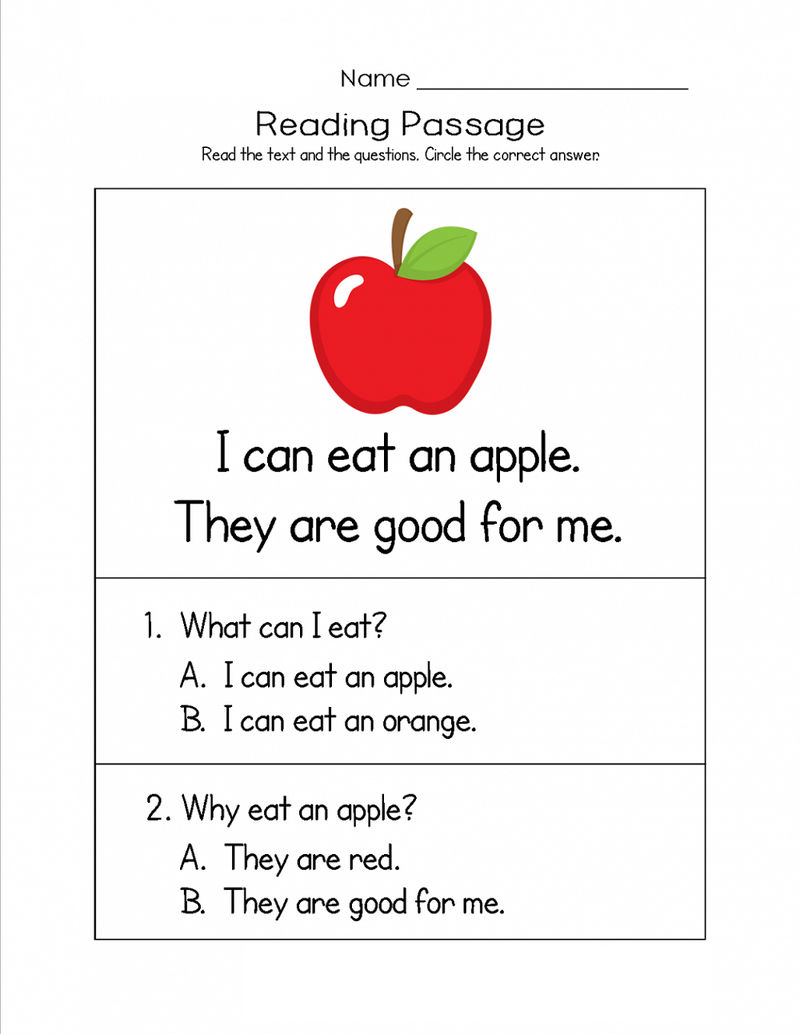 Free Kindergarten Worksheets Reading