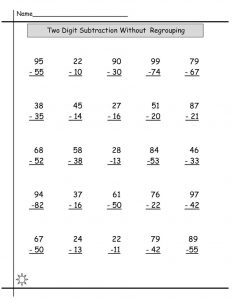 Free maths resources two digits