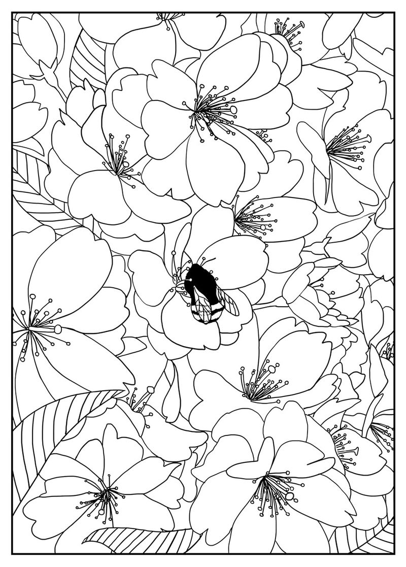 Free Pattern Flower Coloring Page 001