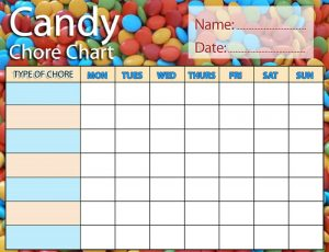 Free printable chore charts candy theme