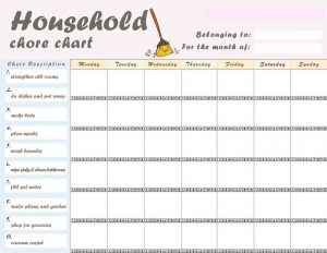 Free printable chore charts household