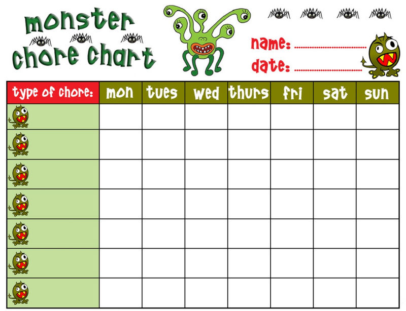 Free Printable Chore Charts Monster Theme