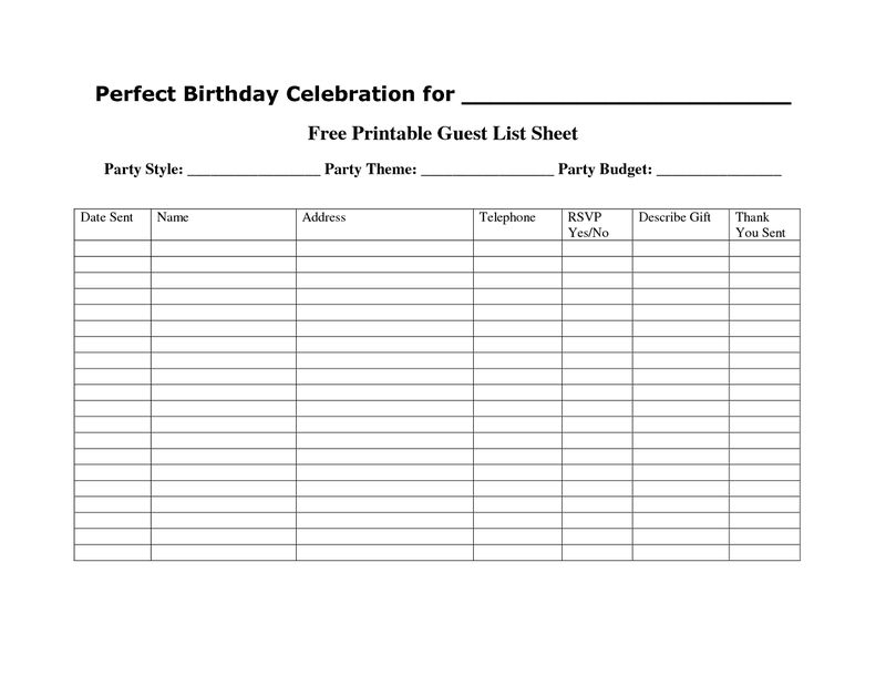 Free Printable Templates Guest List