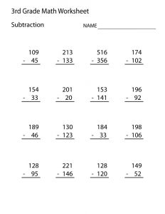 Free printable worksheets for 3rd grade subtraction