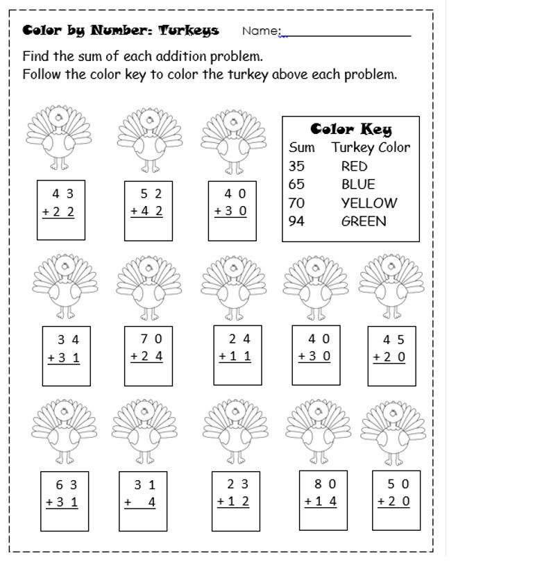 Free Thanksgiving Addition Coloring Worksheets