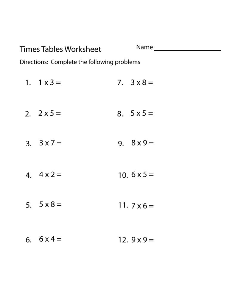 Free Times Tables Worksheets Simple