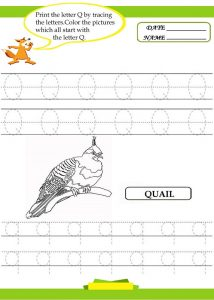 Free traceable letters quail 001