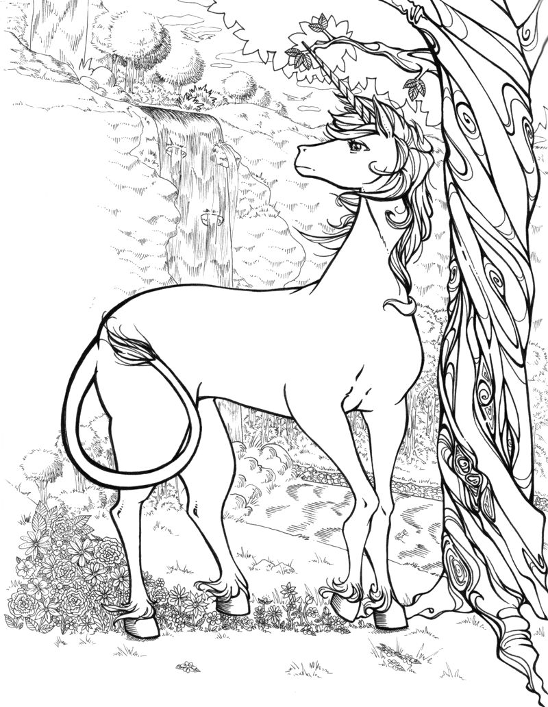 Free Unicorn Coloring Pages For Adults 1
