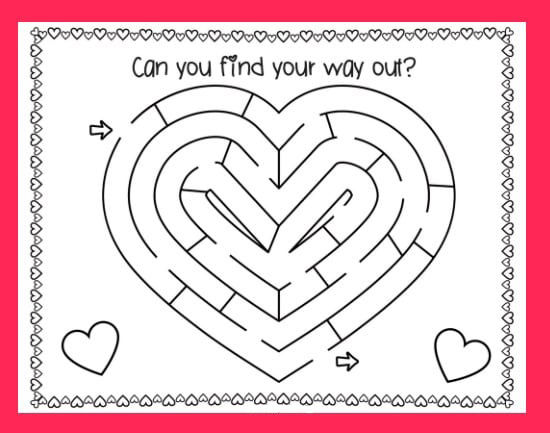 Free Valentines Day Maze Puzzle