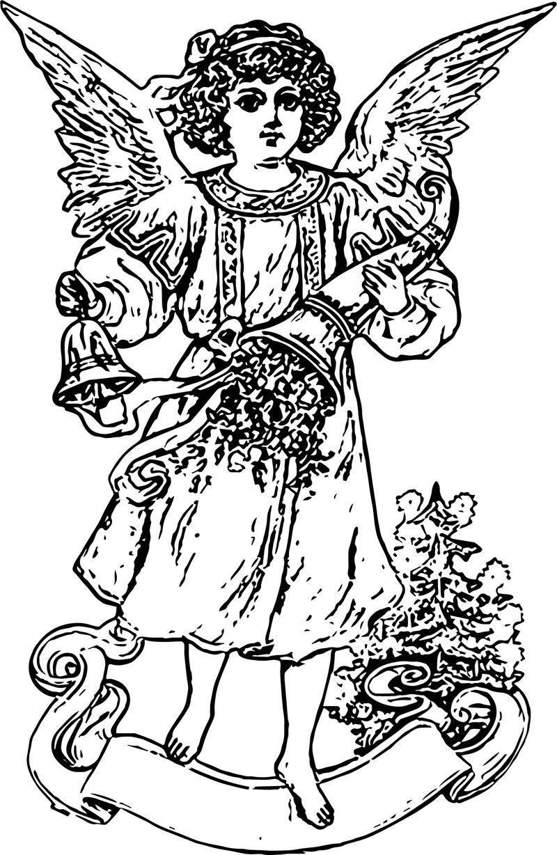 Free Vintage Angel Girl Angel Coloring Page