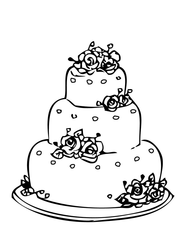 Free Wedding Cake Coloring Pages 001