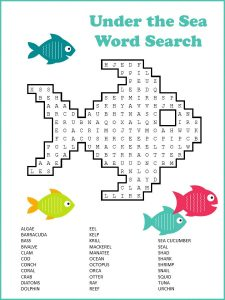 Free word search puzzles for kids fish