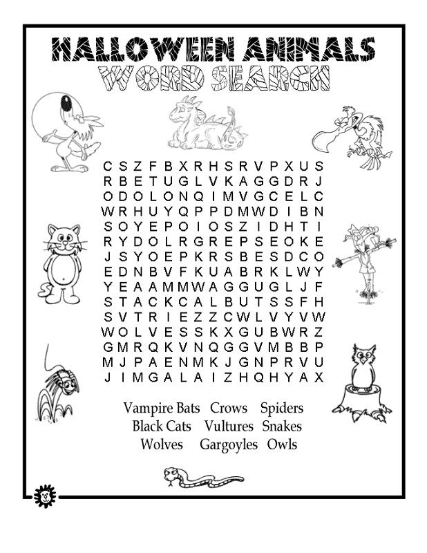Free Word Search Puzzles For Kids Halloween