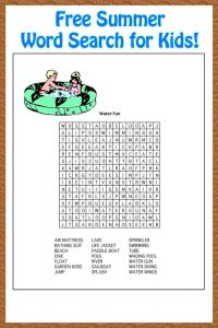 Free word search puzzles for kids summer 1