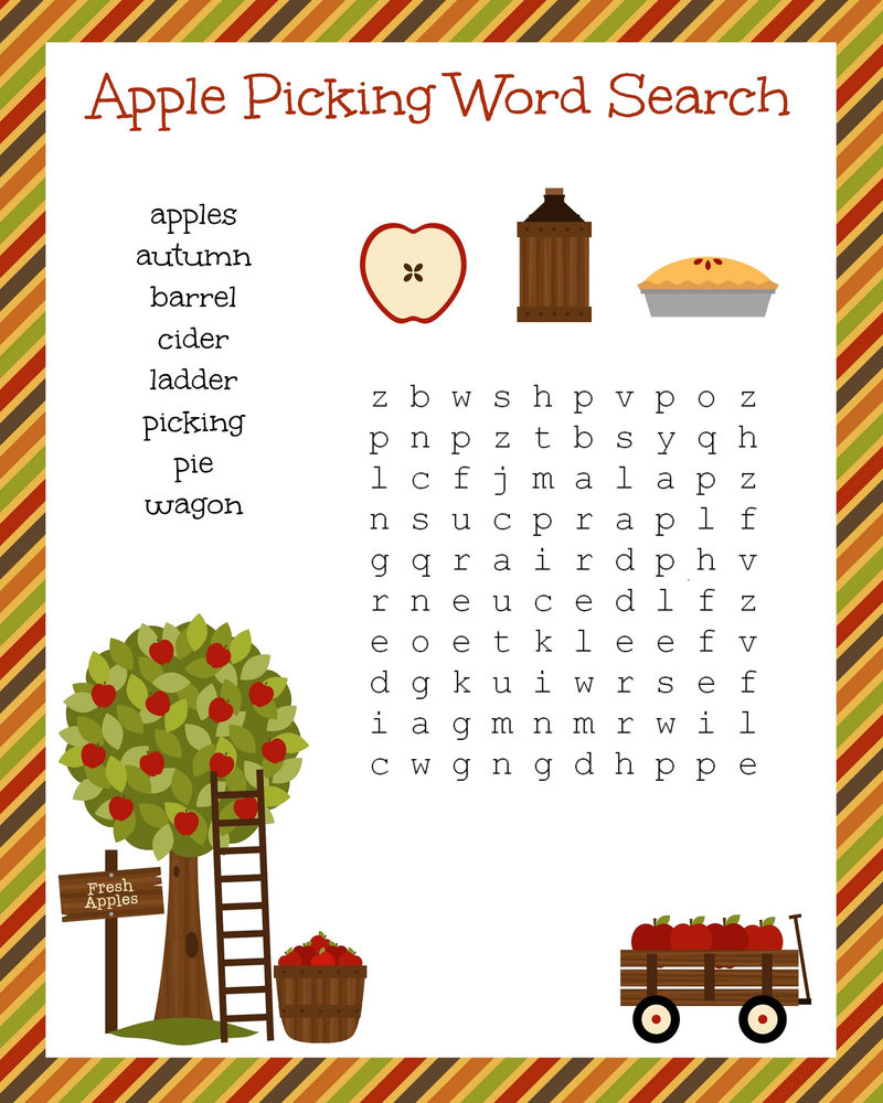 Free Word Search Worksheets Apple