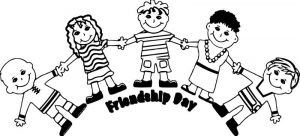 Friendship day five friends coloring page