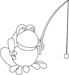 Frog catch fish fishing coloring page