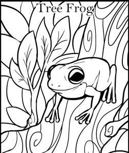 Frog color pages tree frog 002