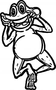 Frog dance happy coloring page