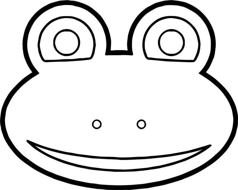 Frog Face Cartoon Coloring Page