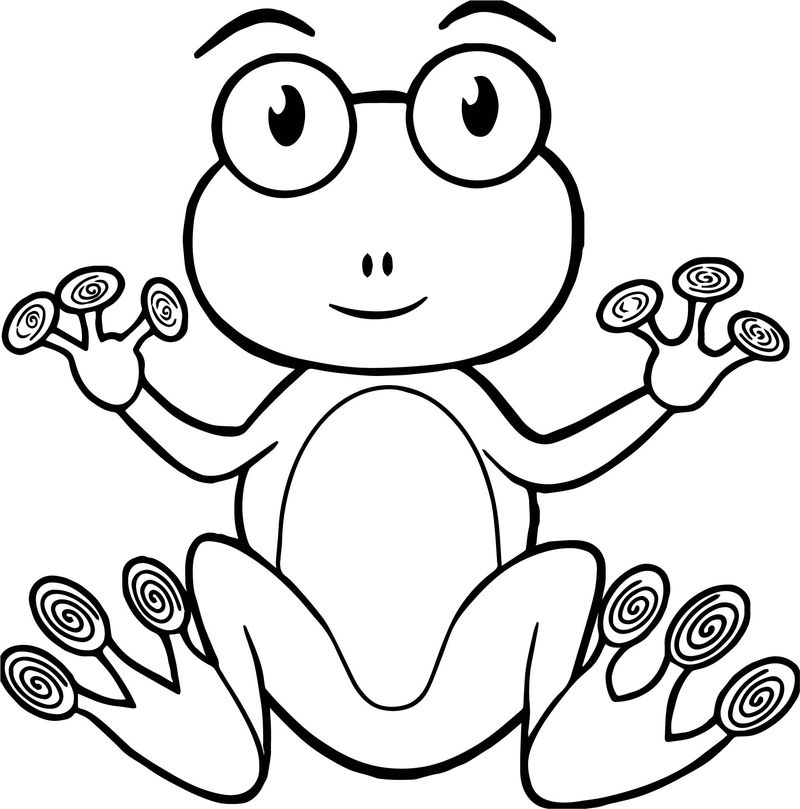 Frog Hand Coloring Page