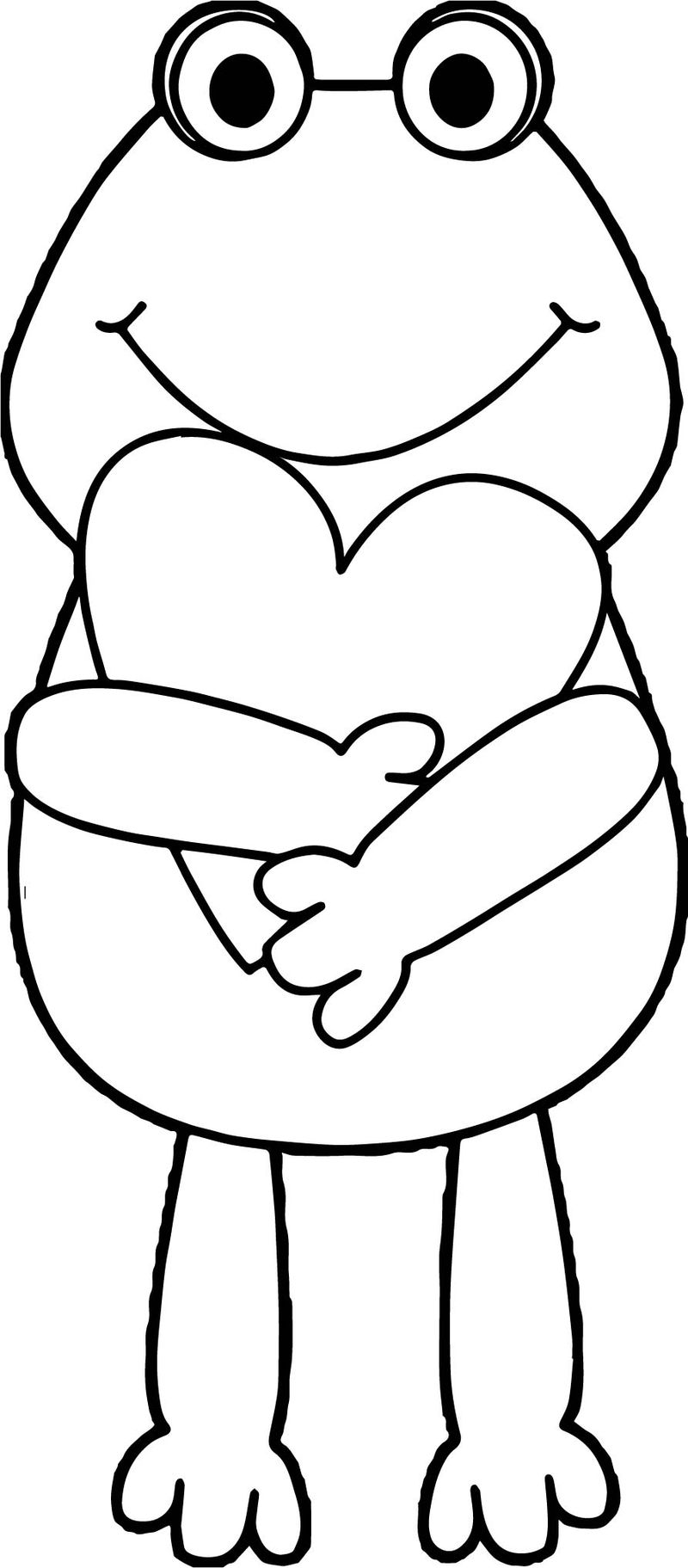 Frog Holding Heart Coloring Page