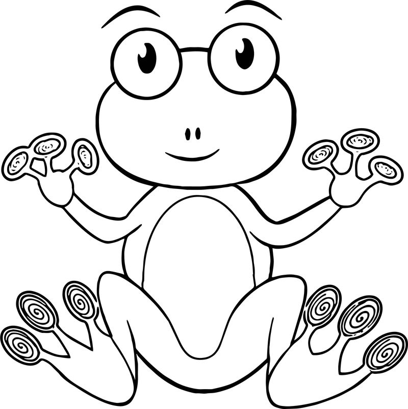 Frog On Glasses Coloring Page