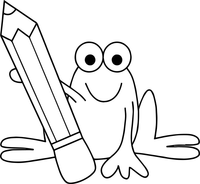 Frog Pencil Coloring Page