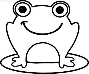 Frog smile bold line coloring page