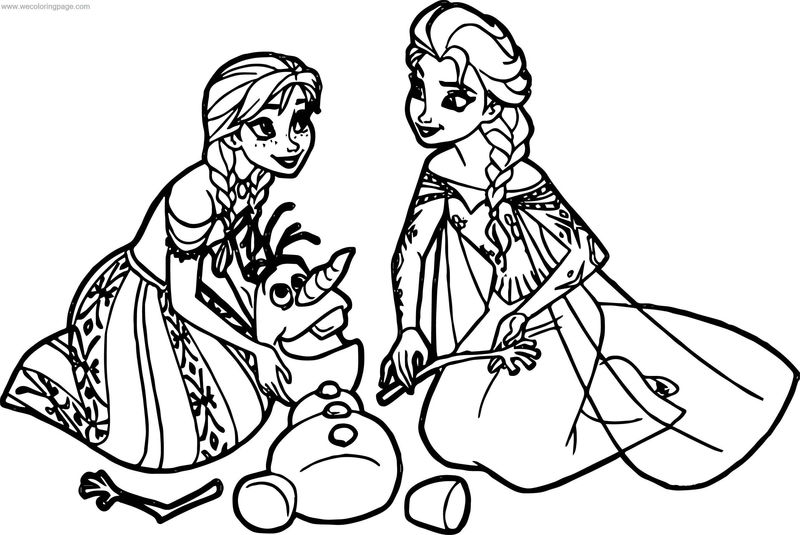 Frozen Anna Elsa Olaf Coloring Page