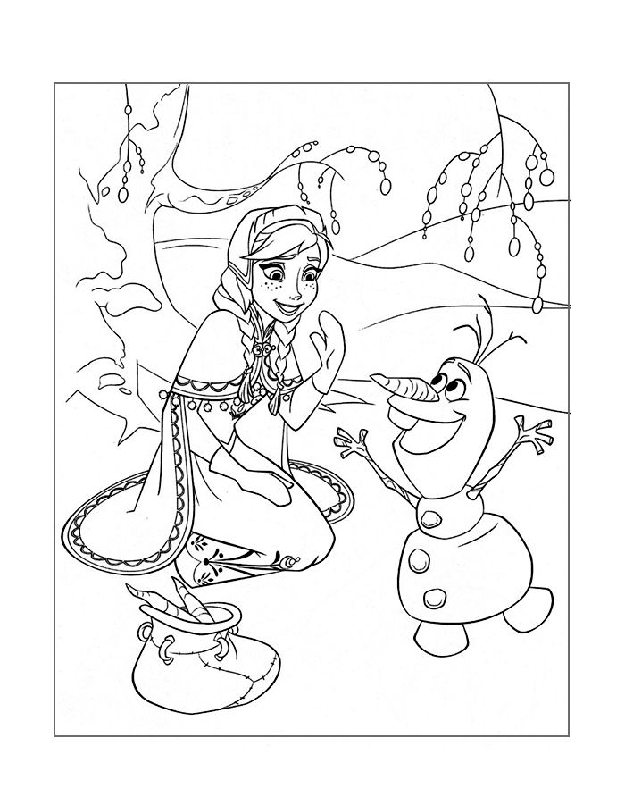 Frozen Coloring Anna And Olaf