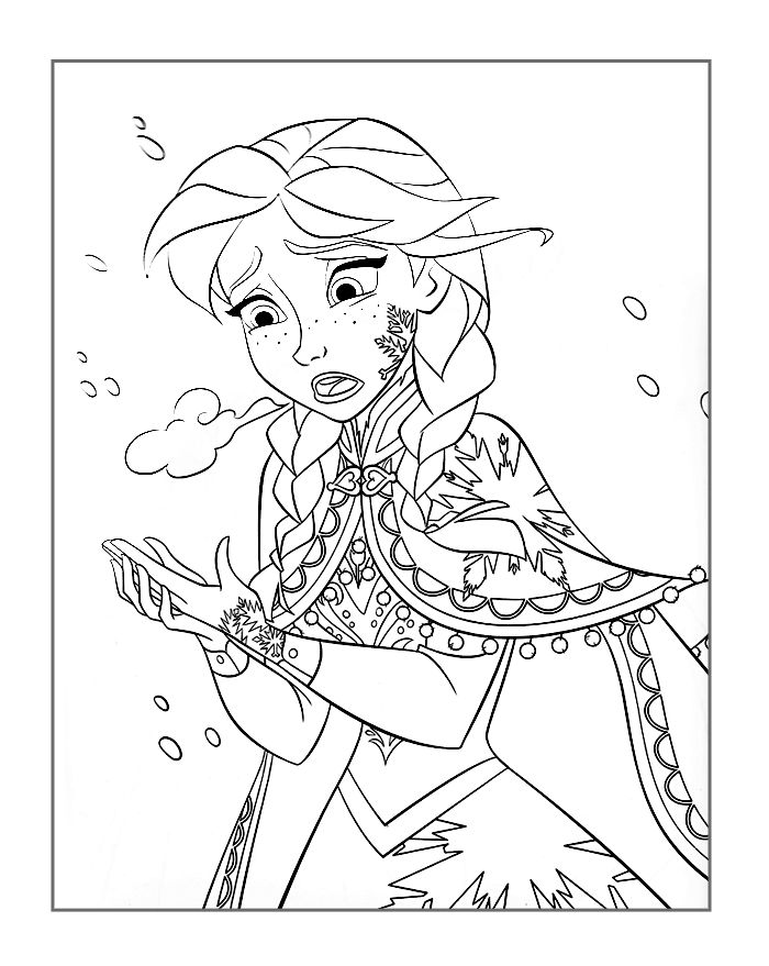 Frozen Coloring Page Anna Freezing
