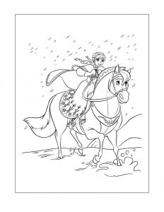 Frozen coloring page anna on horse