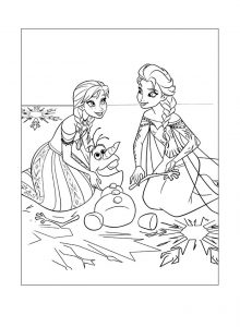 Frozen coloring page elsa anna olaf