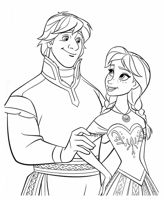 Frozen Coloring Pages Anna And Kristoff