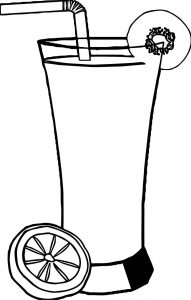 Fruit cocktail drink with straw and lemon piece coloring page